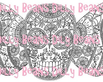 DOTD Butterfly Sugar Skull Digi Stamp #614 Dilly Beans by Megan