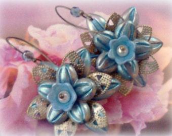 Lucite Earrings, Flower Earrings, Handmade Earrings, Hand Painted Earrings,Boho Earrings, Lucite Jewelry, Blue Flower Earrings, Gift for Her