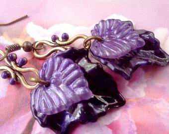 Lucite Earrings, Leaf Earrings, Victorian Earrings, Painted Earrings, Purple Earrings, Boho Earrings, Handmade Earrings, Multi Leaf Earrings