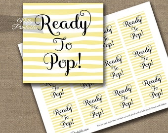 Ready To Pop Shower Favor Tags - Printable Yellow & White Baby Shower Popcorn Favor Tags - Ready To Pop Baby Shower Decor - DSY