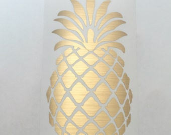 "Pineapple Decal Vinyl Sticker - Gold Foil - 2"" 3"" 4"" 5"" - custom personalized phone case iPad laptop car water bottle wall door"