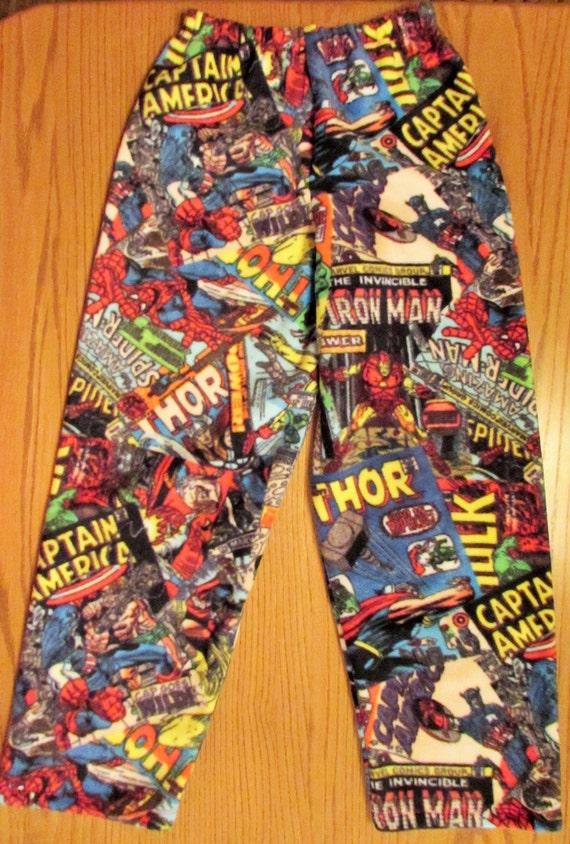 Marvel Comics  fleece pajamas / fleece pants / father and son / his and hers / mens marvel comic/ boys marvel comic/ sizes 1/2T to XL men