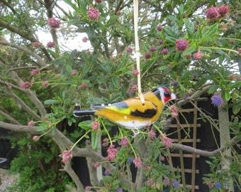 Gold finch - fused glass bird- made to order - garden birds - british birds - fused glass - garden ornament - british wildlife