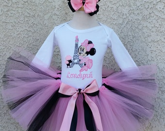 Sweet Baby Minnie Mouse Paris Inspired Birthday Number Tutu -Personalized Birthday Tutu,Sizes 6m - 14/16