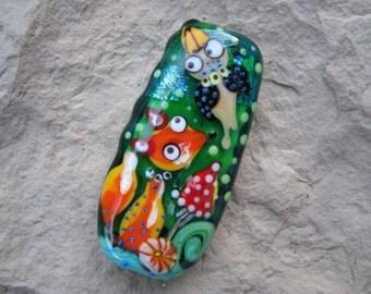 "Handmade Lampwork glass pendant, Lampwork glass focal bead, ""Fox and bird"""