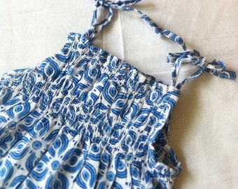 Baby girl's Indian Block Print Romper / 100% Cotton / Vegetable Dyed - Perfect Baby shower / Birthday Gift!
