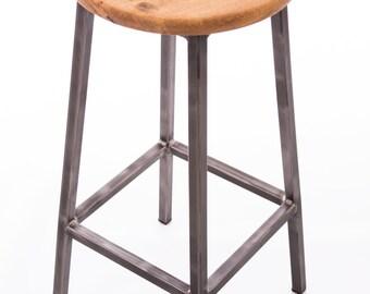Raw steel and oak bar stool