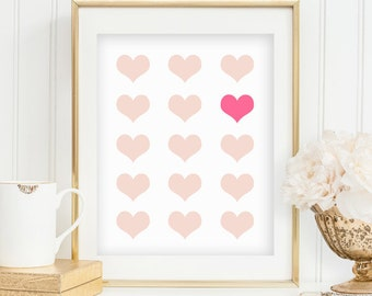 Pink Heart Print Heart Collage Valentine Wall Art Geometric Heart Wall Print Valentine Wall Decor Pink Printable Art INSTANT DOWNLOAD 0080