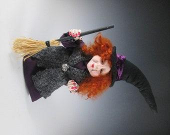 "Halloween Witch, Witch Doll, Polymer Witch, Handmade Witch, ""Morwanna"""