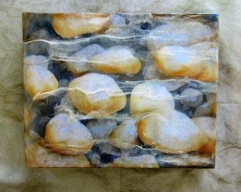 Original encaustic painting - pebbles, mixed media, encaustic art