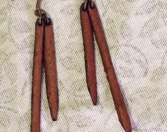 Long Tree Bark Drop Earrings Mulberry Minimalist Dangles Boho Natural Beeswax Sealed Protection Amulet
