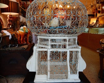 Vintage Moroccan Metal and Wood Decorative Bird Cage. White with Blue Accents. Global Style Decor.