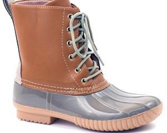 Monogrammed Grey Duck Boots