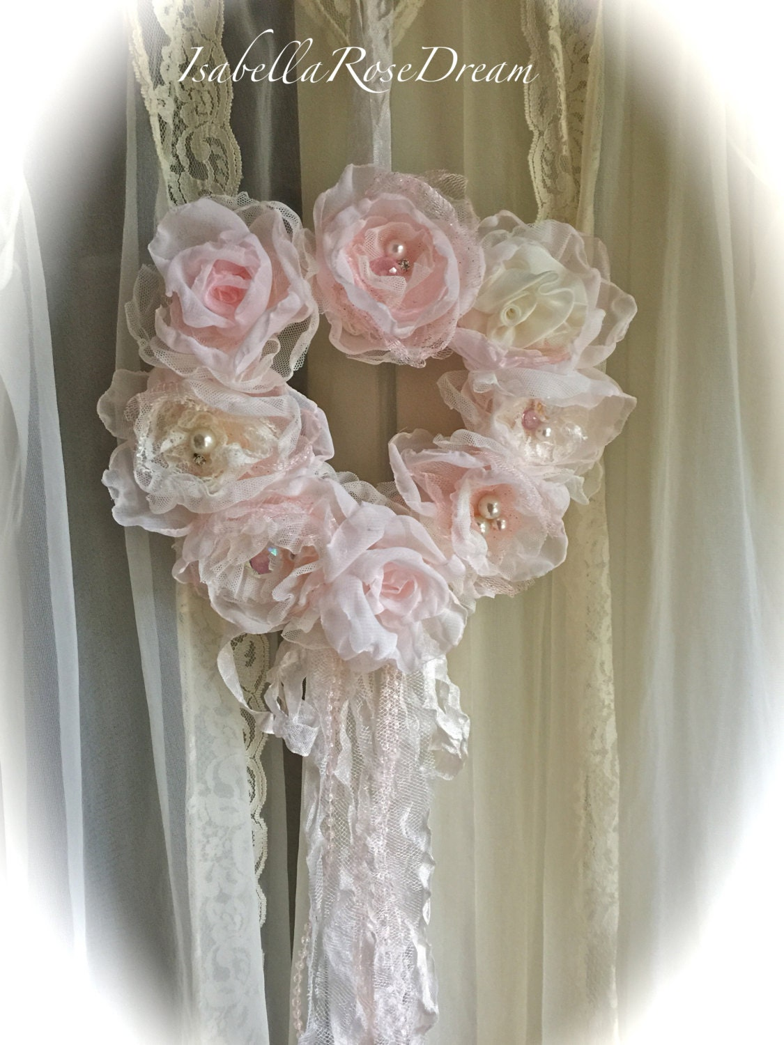 Shabby Chic Wreath Romantic Wreath Cottage Chic Decor Heart