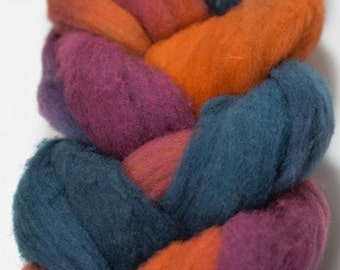 Corriedale Wool Roving, Handpainted Braid, Wisconsin Wool, Spinning Fiber, Burgandy, Orange, Blue, Wool Roving Braid.