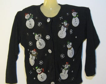 Pearls, Pearls, Pearls! Pearl Snowmen, beads, and gems. Ugly Tacky Christmas Sweater vintage cardigan size Large.