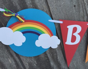 Rainbow Birthday Party Banner, Rainbow Banner, Rainbow Baby Shower Banner