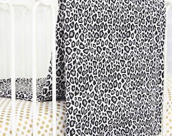 15% OFF SALE- Silver Leopard Blanket