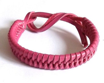 Pink real leather tie on plaited woven wristband strap band friendship bracelet