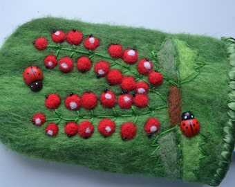 iPhone felt case Art style. Cell phone case. Felted iPhone case with clasp.
