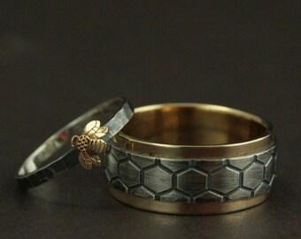 Gold Bee Rings--Honey Bee Mine Set--Bumblebee Ring--Honey Bee Ring--Helix Ring--Honeycomb Ring--Two Tone Wedding Band Set--Beekeeper Rings