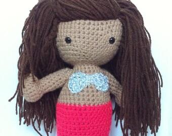 Crochet Mermaid Amigurumi Doll - Handmade decorative Art doll - nursery decor - multi racial heritage - mixed ethincity - MADE TO ORDER
