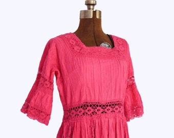 1970s Bohemian Mexican Style Cotton Maxi Dress in Magenta