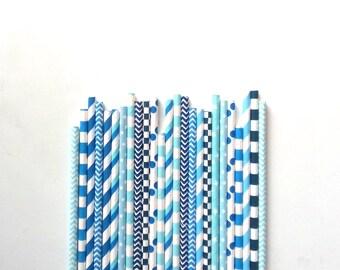 25 Paper Straws in Boyz Power colors