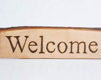 Welcome sign,wooden sign,welcome,handmade,pyrography,burned letters