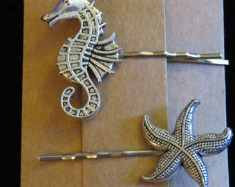 Seahorse and Starfish Hair Pin Set