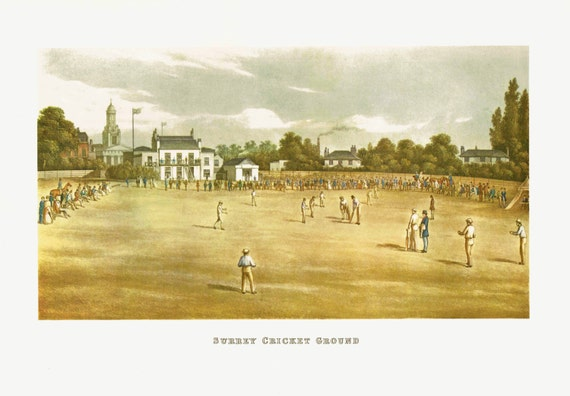Large vintage 1962 print of 19th century cricket match in Surrey, lovely details, print of engraving by C Rosenberg junior