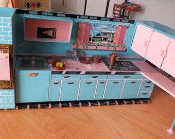 Vintage 1950's Tin Litho Modern Kitchen