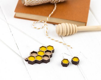 Geometric Laser Cut Honeycomb Jewellery Set - Necklace and Drop Ear Rings.