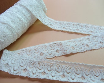 "stretch lace,off white Plum flower wedding lace, Stretch Lace Trim - off white Lace Trim, 1.18"" Wide Lace Trim- off white lace"