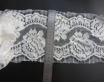 """3 Yards*6.7"""" white eyelash lace fabric  , Chantilly Eyelash Lace Fabric in white  for Wedding Gowns, black eyelash lace fabric-T005"""