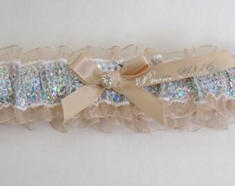 Prom Garters, Sequin Prom Garter, Champagne Prom Garter, Custom Colors Prom Garter, Prom Garter, Wedding  Garters, Prom Garters.