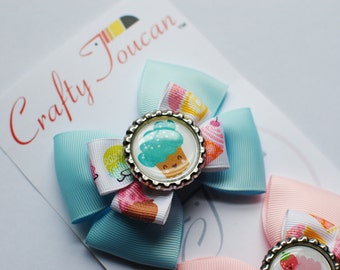 Mix and Match Pink and Blue Cupcake Everyday Hair Bow for Toddlers/girls