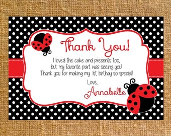 Customized Little Ladybug Birthday Party Thank You - Digital File