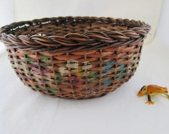 Round Reed Hand Painted Basket Hand Woven Basket Hand Made Basket Hand Crafted Basket Natural Woven Basket Painted Basket rustic basket