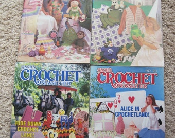 Lot of 4 - Annies' Crochet Newsletter - Dates Ranging from 1985 to 1986