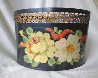 Vintage Tole Painted Letter Holder, Desk Accessory, Black with Large Hand Painted Flowers