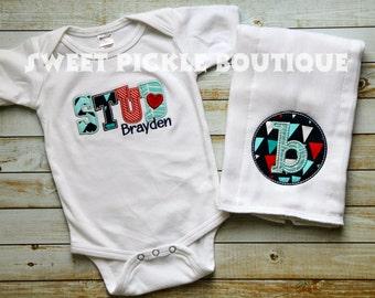 Monogram STUD Boy Shirt or Baby Boy Gift Set Personalized Monogrammed Baby Shower Set Bodysuit and Burp Cloth