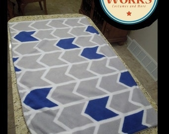 Discounted Grey and Navy Infant Throw-- Double sided fleece blanket