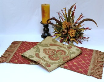 Decorative Table Runner - Red, Gold, Sage Green Table Runner with Fringe