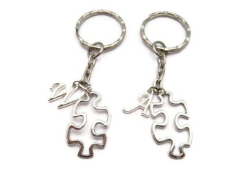 Puzzle Keychain Puzzle Piece Keychain Initial Autism Awareness Keychain Set Puzzle Gift Autism Awareness Personalized Autistism Parents Gift