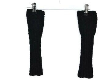 Black armwarmers wristwarmers knitted (goth, emo)