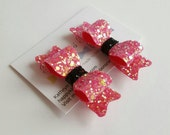 Little girls hair clips set of glitter Hair Clips pink  black hair bows Toddlers hair bows Baby Girl Hair Clips Glitter Hair bows.