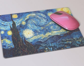 Fabric Mousepad, Mousemat, 5mm Black Rubber Base, 19 x 23 cm - Starry Night by Dutch Impressionist Vincent Van Gogh Mousepad Mousemat