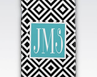 Case for iPhone 8, iPhone 6s,  iPhone 6 Plus,  iPhone 5s,  iPhone SE,  iPhone 5c,  iPhone 7,  Black & White Geometric Monogrammed