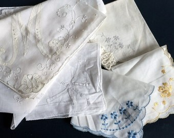 Six Vintage hankies, 1940's